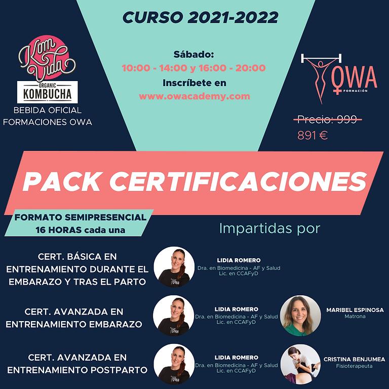 PACK CERTIFICACIÓN BÁSICA ENTRENAMIENTO DURANTE EL EMBARAZO Y TRAS EL PARTO + CERTIFICACIONES AVANZADAS