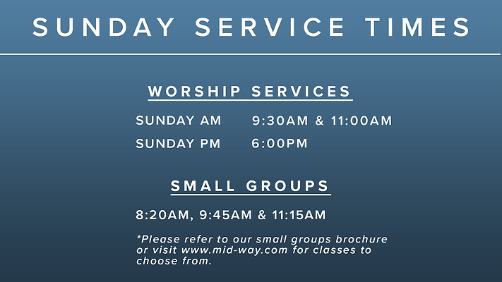 Sunday Service Times without April 11th(