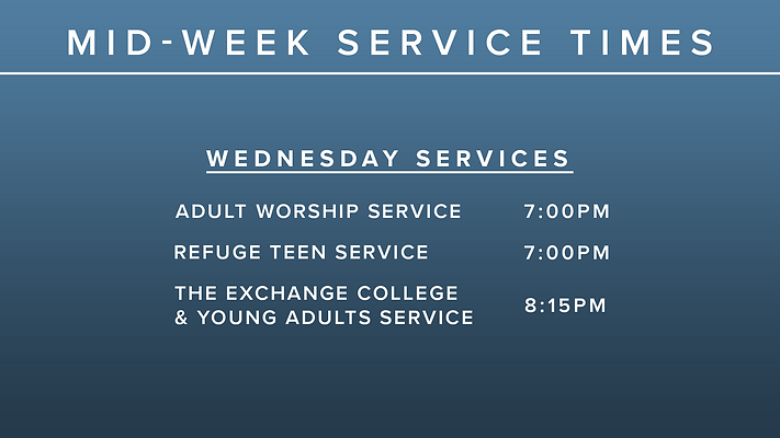 Mid-Week Service Times without April 11t