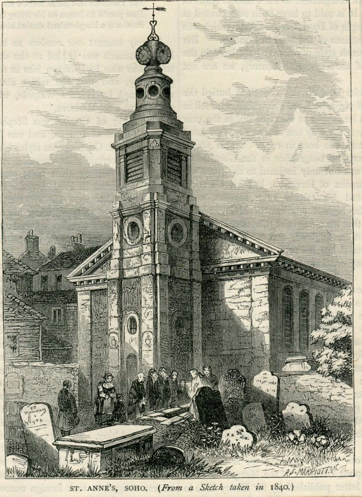 St Anne's Churchyard - taken from a sketch in 1840