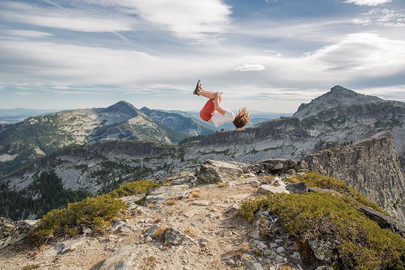 Backflip at Chimney Rock in Idaho