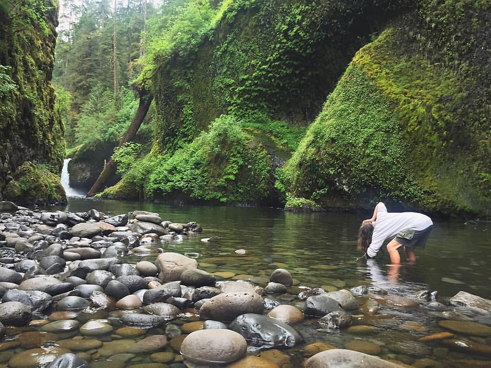 Taking a Photo of Punch Bowl Falls