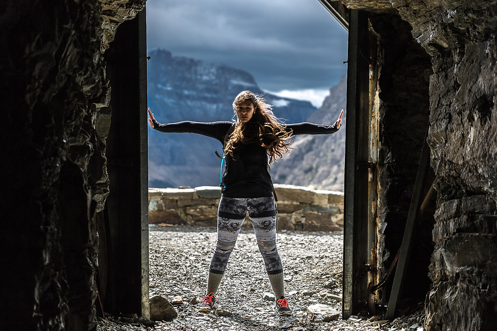 Taylor hiking in Glacier National Park at Ptarmigan Tunnel