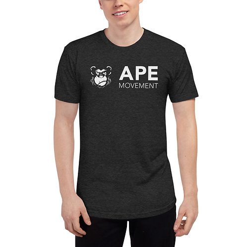 ape movement white logo black tee shirt front view
