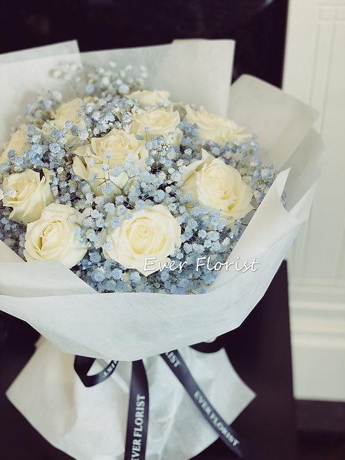 Premium White Roses(with light)