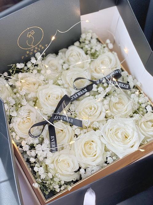Premium White Roses Box