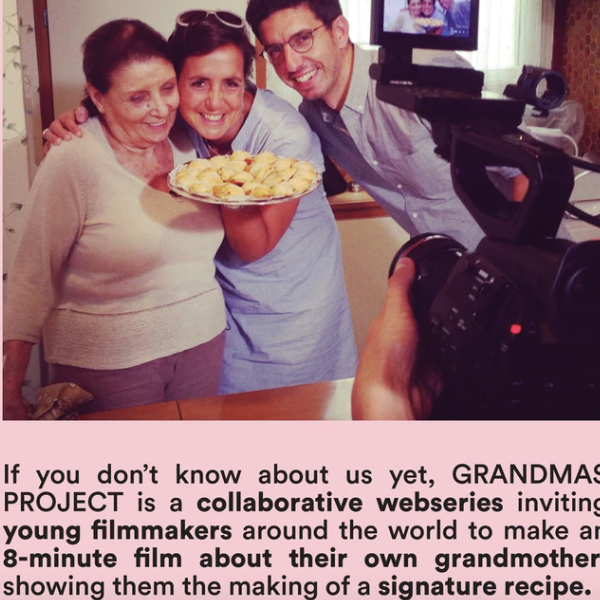 Screen capture from the Kickstarter webpage with a photo of a grandmother, a dish of food, and two other adults.