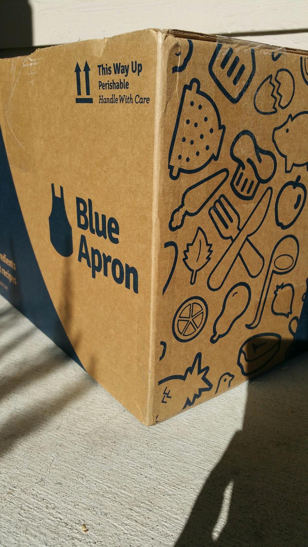 Blue Apron box at the door