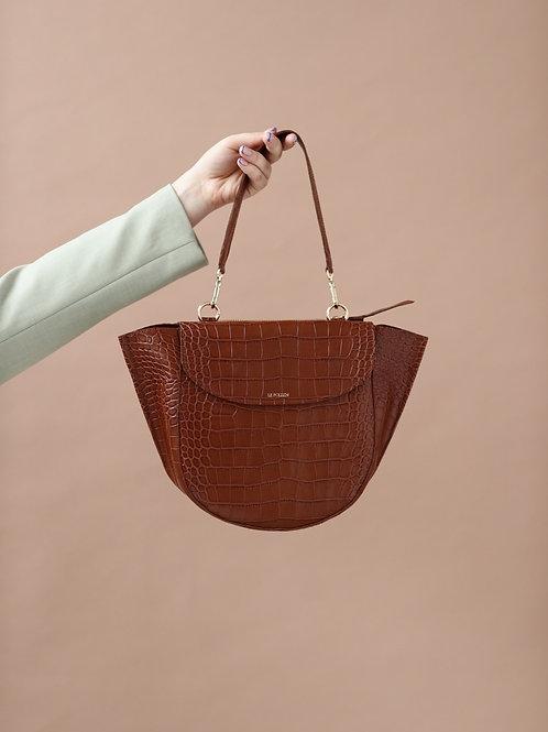 Brown Croco Half Moon Bag