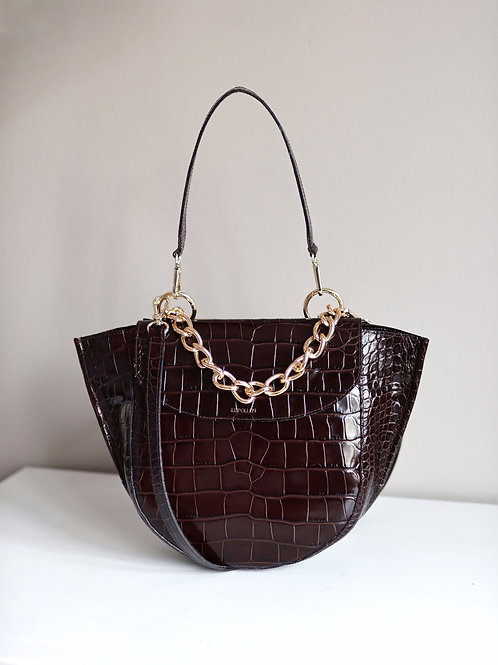 Brown Crocodile Half Moon Bag