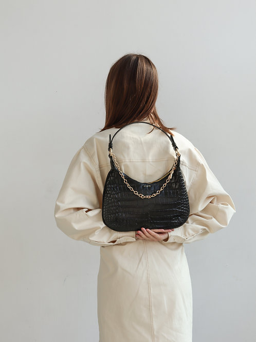 Black Croco Baguette Bag