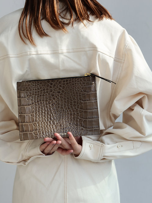 Olive Crocodile Pouch