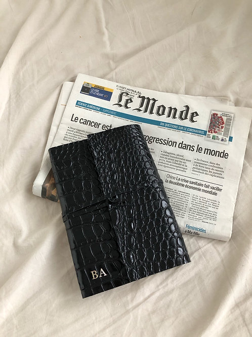 Black  Wrapped Crocodile  Diary
