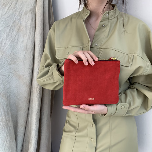 Flame Red Suede Pouche