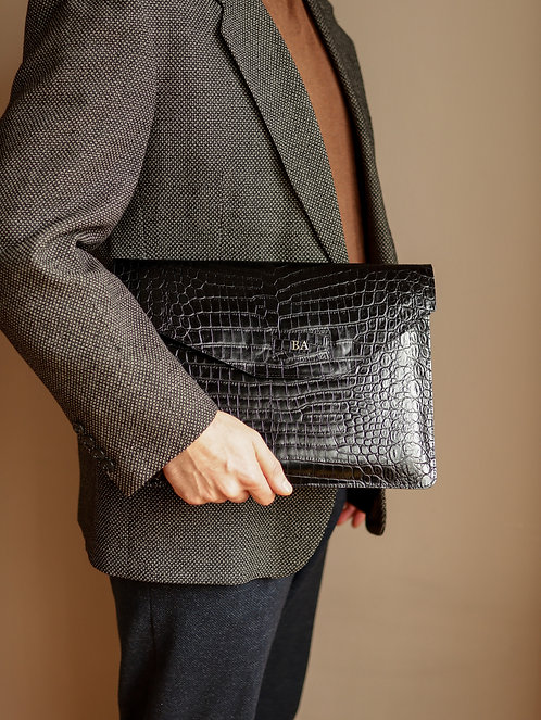 Black Croco Laptop Case