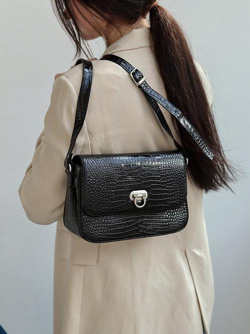 Shiny Crocodile Flap Bag