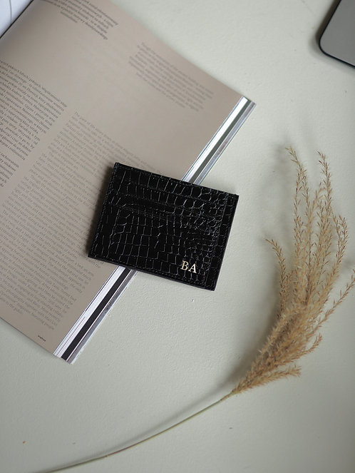 Shiny Crocodile Cardholder Black
