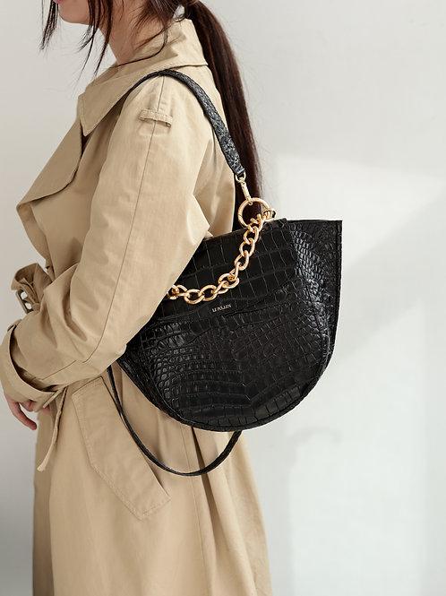 Black Crocodile Half Moon Bag