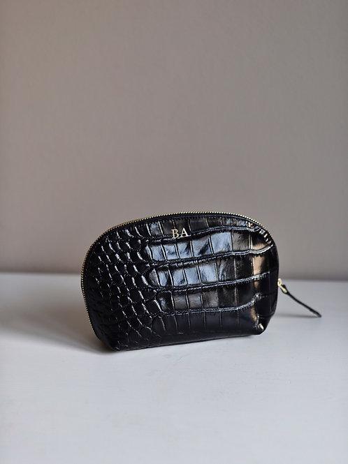 Kosmetycza Medium Black Crocodile