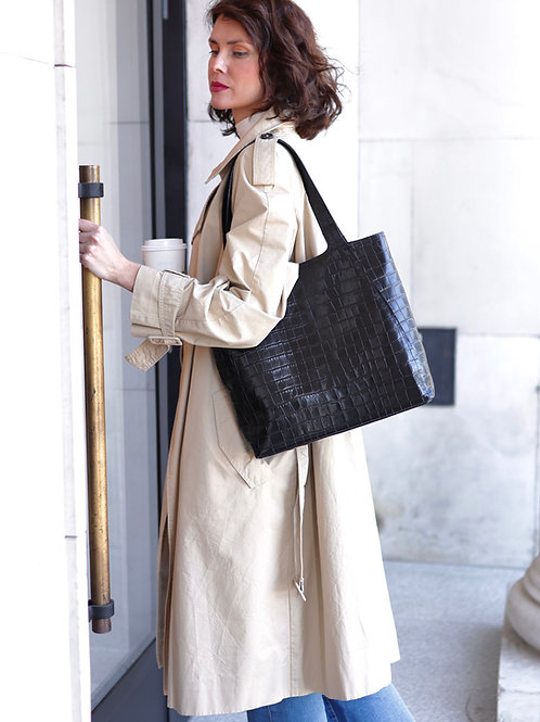 Black Croco Shopper Bag