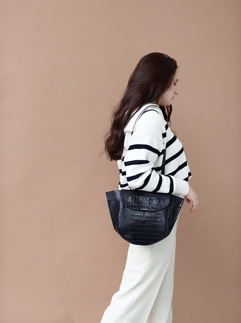 Navy Blue Croco Half Moon Bag