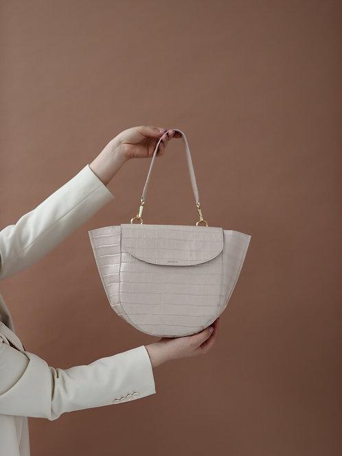 Ivory Croco Half Moon Bag