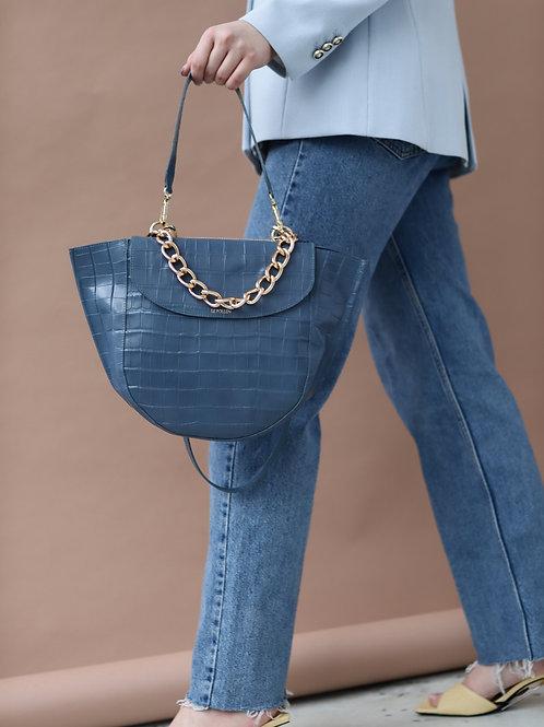 Blue Croco Half Moon Bag