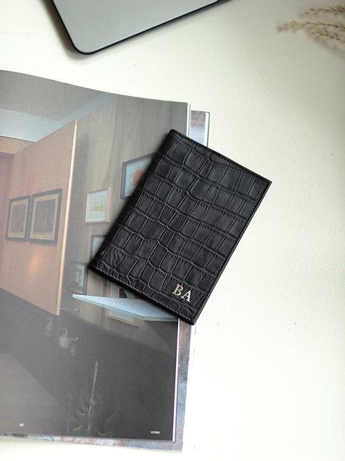 Black Croco Passport Etui