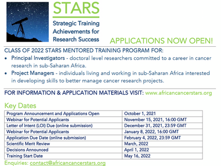 APPLICATIONS ARE NOW OPEN FOR THE 2022 STARS PROGRAM!