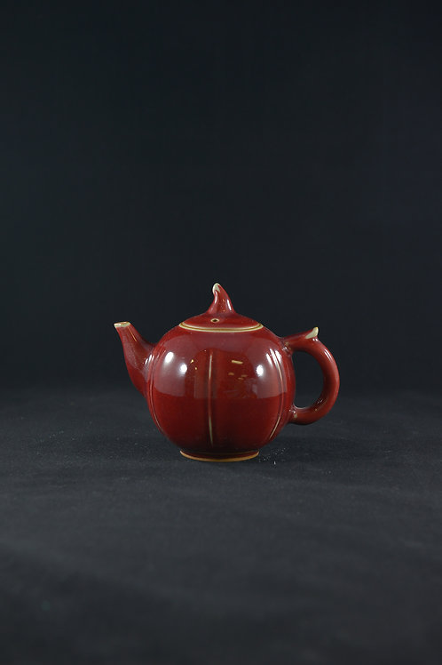 "Jun Porcelain Teapot from Song Dynasty Royal Kiln -""Pot of Abundance"", Red"