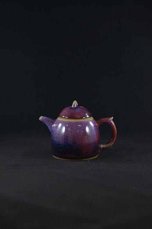 "Jun Porcelain Teapot from Song Dynasty Royal Kiln -""Pot of Gratification"",Purple"