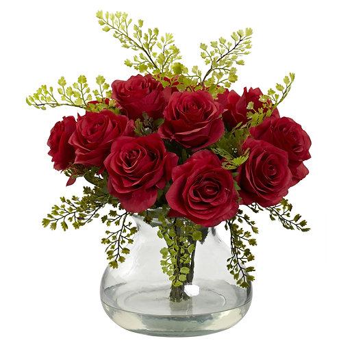 Rose & Maiden Hair Arrangement w/ Vase