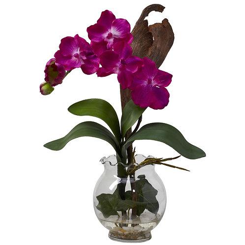 Mini Vanda w/ Fluted Vase Silk Flower Arrangement