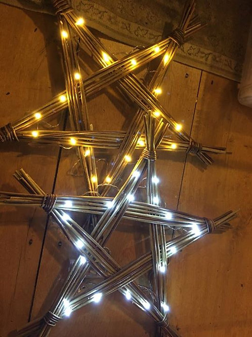 Handmade Willow Star Decoration with 20 battery operated LED lights