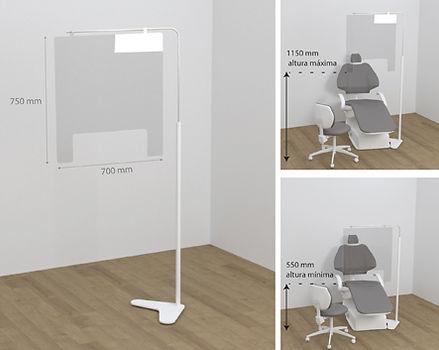 Mampara de protección sillones podologia