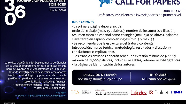 360: Revista de Ciencias de la Gestión [CALL FOR PAPERS]