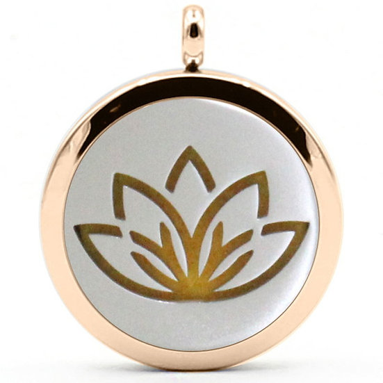 Gold Rim Lotus Necklace