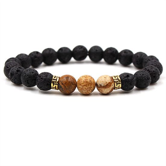 Essential Oil Bracelet.Brown marble