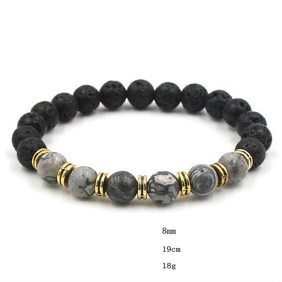 Essential Oil Bracelet.Grey marble