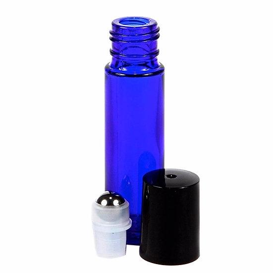 5 x Blue Glass 10mL Roller Bottles