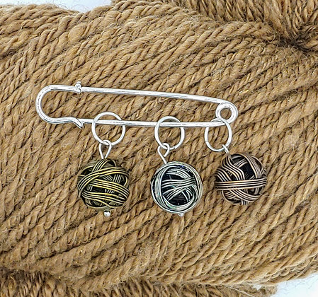 Set of 3 Yarn Ball Stitch Markers