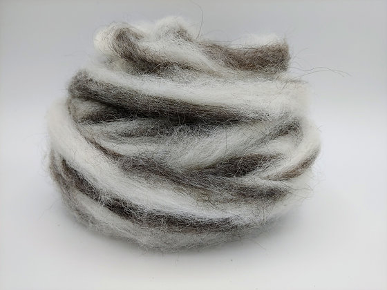 Medium Grey and White Alpaca Roving - by the ounce