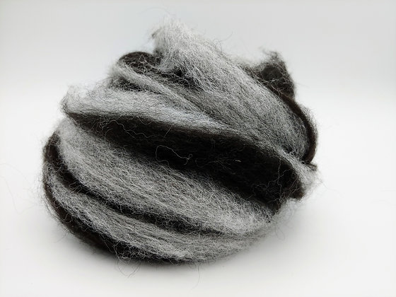 Black and Grey Alpaca Roving - by the ounce