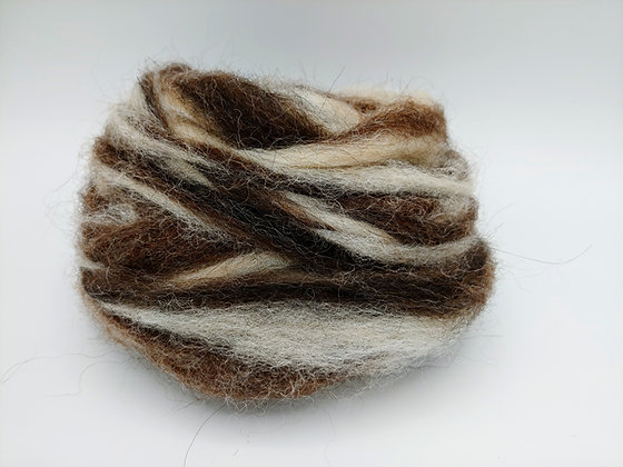 Dark Rose Grey and White Alpaca Roving - by the ounce