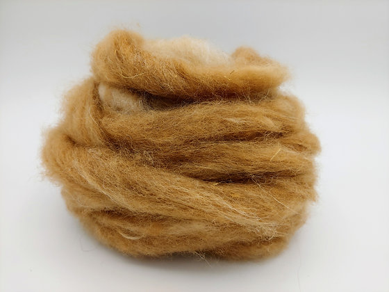 Fawn and White Alpaca Swirl Roving - by the ounce