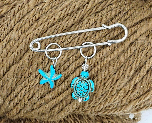 Turquoise Turtle & Starfish Stitch Marker Pair