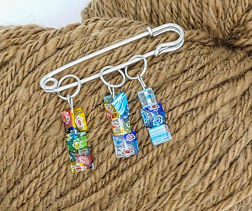 Colorful Glass Square Beaded Stitch Marker - sold individually