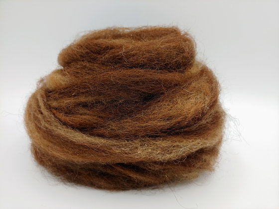 Chocolate - Finnsheep and Alpaca Blend Roving - by the ounce