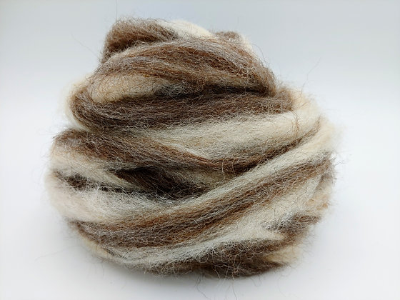 Medium Rose Grey and White Alpaca Roving - by the ounce