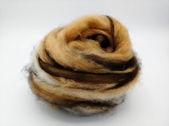 """Bengal""  Alpaca Swirl Roving - sold by the ounce"